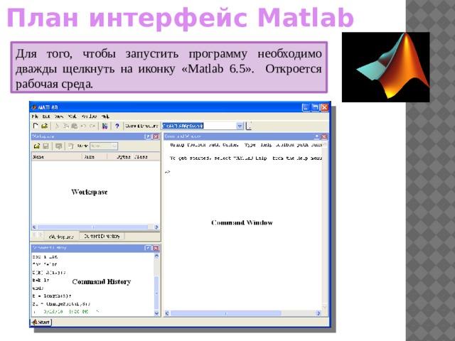 План интерфейс Matlab Для того, чтобы запустить программу необходимо дважды щелкнуть на иконку «Matlab 6.5». Откроется рабочая среда.