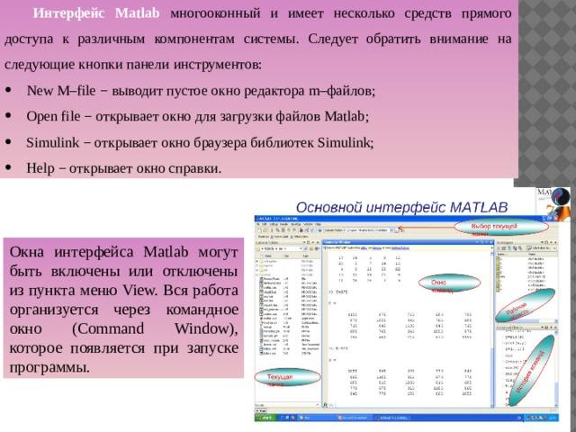 Интерфейс Matlab многооконный и имеет несколько средств прямого  доступа к различным компонентам системы. Следует обратить внимание на следующие кнопки панели инструментов: New M–file − выводит пустое окно редактора m–файлов; Open file − открывает окно для загрузки файлов Matlab; Simulink − открывает окно браузера библиотек Simulink; Help − открывает окно справки. Окна интерфейса Matlab могут быть включены или отключены из пункта меню View. Вся работа организуется через командное окно (Command Window), которое появляется при запуске программы.
