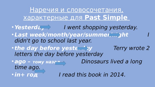 Наречия и словосочетания, характерные для Past Simple Yesterday I went shopping yesterday. Last week/month/year/summer/night I didn't go to school last year. the day before yesterday Terry wrote 2 letters the day before yesterday ago – тому назад  Dinosaurs lived a long time ago. in+ год I read this book in 2014.