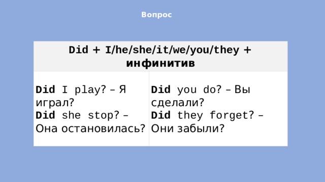 Вопрос   Did + I / he / she / it / we / you / they + инфинитив Did I play ? – Я играл? Did she stop ? – Она остановилась? Did you do ? – Вы сделали? Did they forget ? – Они забыли?