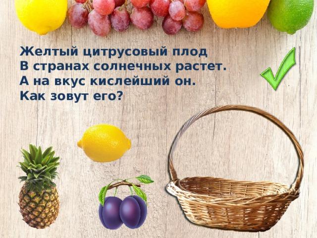 Желтый цитрусовый плод В странах солнечных растет. А на вкус кислейший он. Как зовут его?