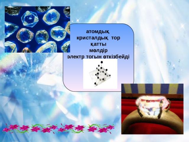 атомды қ  кристалдық тор қатты мөлдір электр тогын өткізбейді