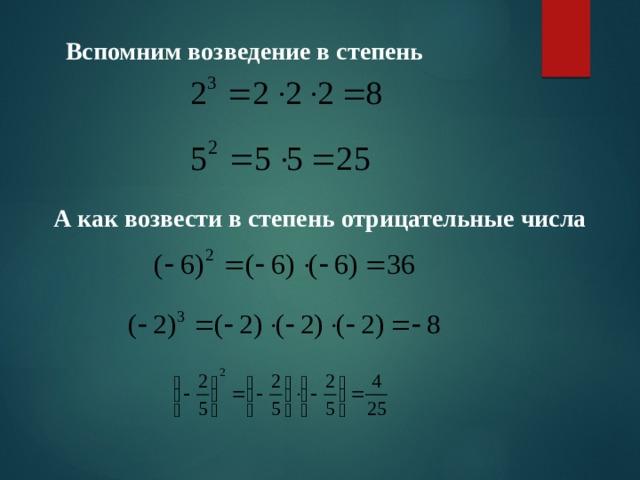 Вспомним возведение в степень А как возвести в степень отрицательные числа