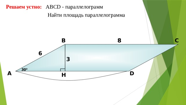 Решаем устно: АBCD - параллелограмм  Найти площадь параллелограмма 8 В С 8 6 3 30 0 D А H 10