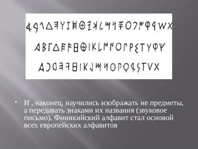 И , наконец, научились изображать не предметы, а передавать знаками их названия (звуковое письмо). Финикийский алфавит стал основой всех европейских алфавитов