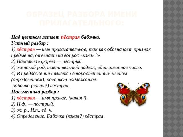 Образец разбора имени прилагательного: Над цветком летает пёстрая бабочка. Устный разбор : 1) пёстрая — имя прилагательное, так как обозначает признак предмета, отвечает на вопрос «какая?» 2) Начальная форма — пёстрый. 3) женский род, именительный падеж, единственное число. 4)  В предложении является второстепенным членом (определением), поясняет подлежащее:  бабочка (какая?) пёстрая. Письменный разбор : 1) пёстрая — имя прилаг. (какая?). 2) Н.ф. — пёстрый. 3) ж. р., И.п., ед. ч. 4)  Определение. Бабочка (какая?) пёстрая .