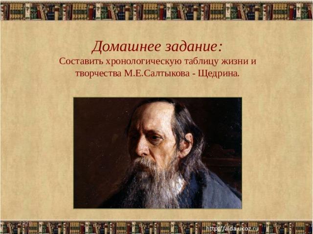 Домашнее задание: Составить хронологическую таблицу жизни и творчества М.Е.Салтыкова - Щедрина. 2020