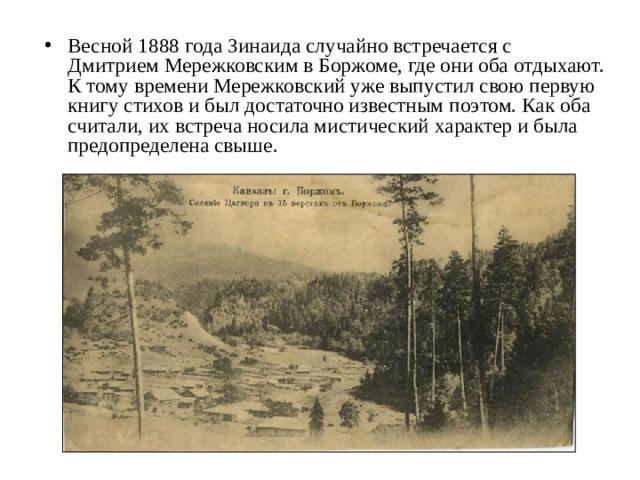 Весной 1888 года Зинаида случайно встречается с Дмитрием Мережковским в Боржоме, где они оба отдыхают. К тому времени Мережковский уже выпустил свою первую книгу стихов и был достаточно известным поэтом. Как оба считали, их встреча носила мистический характер и была предопределена свыше.