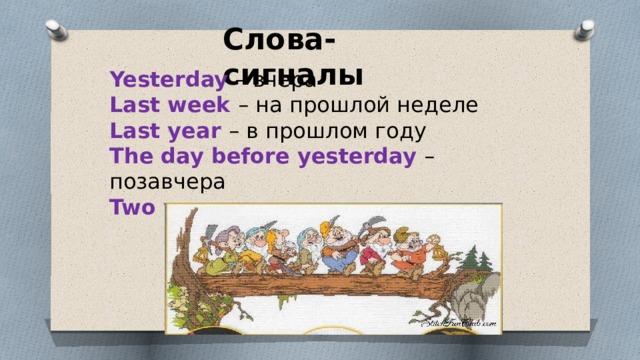 Слова- сигналы Yesterday – вчера Last week – на прошлой неделе Last year – в прошлом году The day before yesterday – позавчера Two years ago – два года назад