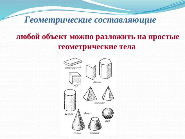 Геометрические составляющие  любой объект можно разложить на простые геометрические тела