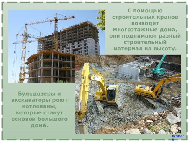 С помощью строительных кранов возводят многоэтажные дома, они поднимают разный строительный материал на высоту. Бульдозеры и экскаваторы роют котлованы, которые станут основой большого дома.