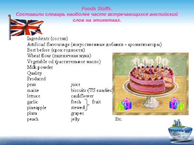 Foods Stuffs.  Составили словарь наиболее часто встречающихся английский слов на этикетках.