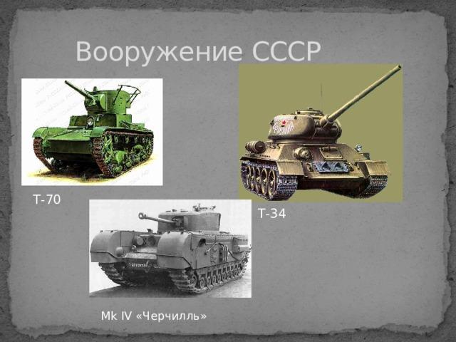 Вооружение СССР Т-70 Т-34  Mk IV «Черчилль»