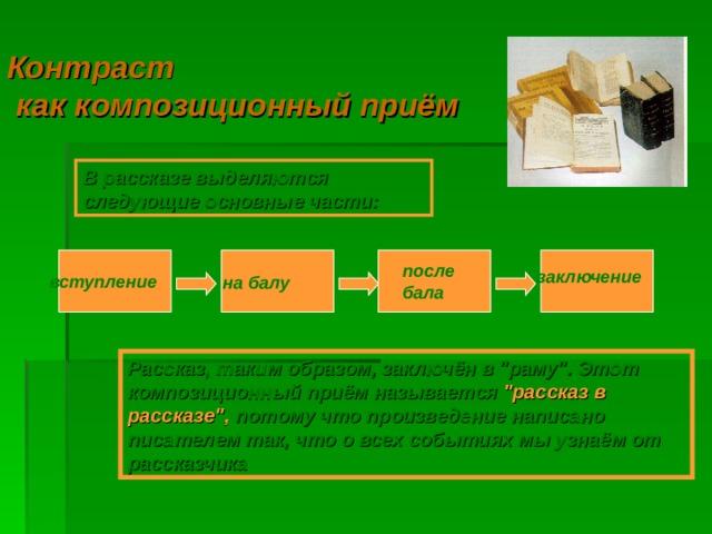 Контраст  как композиционный приём В рассказе выделяются следующие основные части: после бала заключение вступление на балу Рассказ, таким образом, заключён в