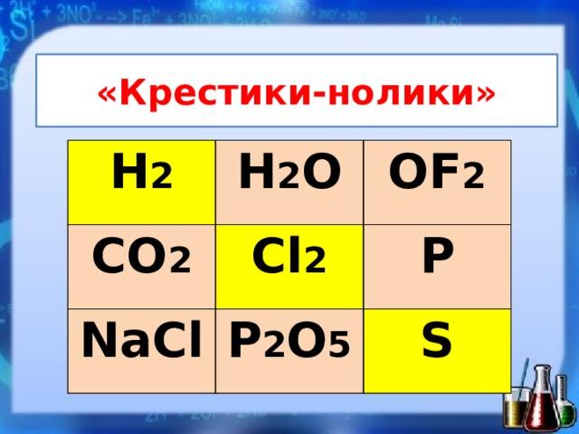 «Крестики-нолики» H 2 H 2 O CO 2 OF 2 Cl 2 NaCl P 2 O 5 P S