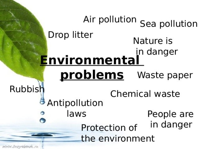 Air pollution Sea pollution Drop litter Nature is  in danger Environmental problems Waste paper Rubbish Chemical waste Antipollution laws People are  in danger Protection of the environment