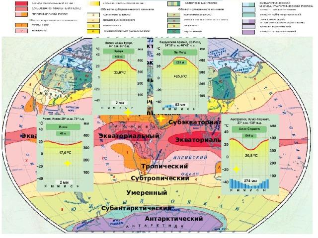 Арктический Субарктический Умеренный Субтропический Тропический Субэкваториальный Экваториальный Экваториальный Экваториальный Тропический Субтропический Умеренный Субантарктический Антарктический