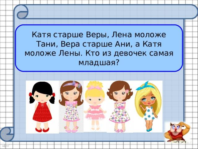 Катя старше Веры, Лена моложе Тани, Вера старше Ани, а Катя моложе Лены. Кто из девочек самая младшая? О