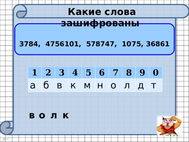 Какие слова зашифрованы 3784, 4756101, 578747, 1075, 36861 1 а 2 б 3 в 4 к 5 м 6 н 7 8 о 9 л д 0 т в о л к