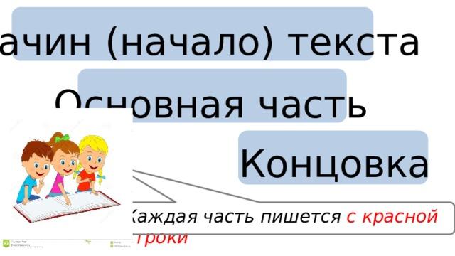 Зачин (начало) текста Основная часть Концовка Каждая часть пишется с красной строки