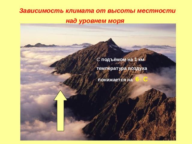 Зависимость климата от высоты местности  над уровнем моря С подъёмом на 1 км температура воздуха  понижается на 6 ◦ С Зависимость климата от высоты местности над уровнем моря