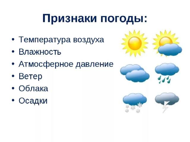 Основные элементы погоды - температура, Основные элементы погоды - температура,  -влажность,  -атмосферное давление.