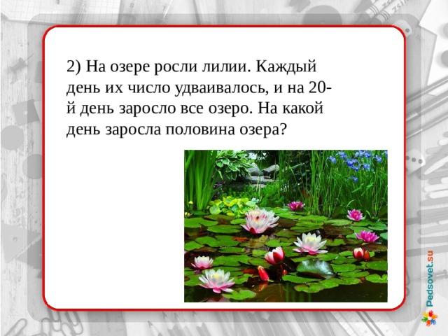 2) На озере росли лилии. Каждый день их число удваивалось, и на 20-й день заросло все озеро. На какой день заросла половина озера?