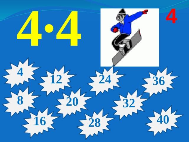 4·4 4 4 12 24 36 8 20 32 40 16 28