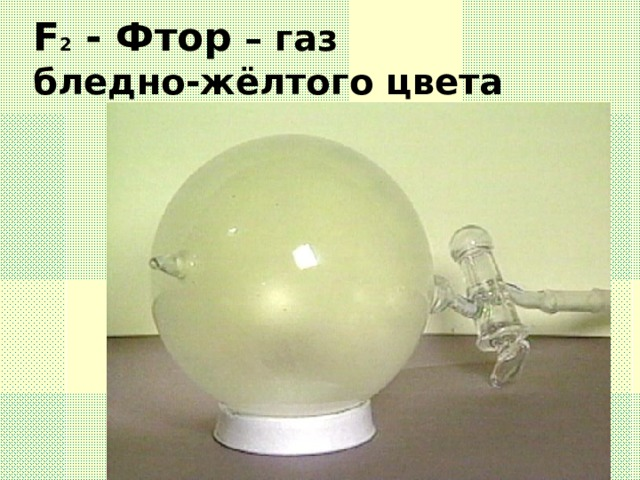 F 2 - Фтор – газ бледно-жёлтого цвета