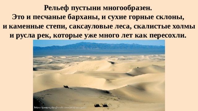 Рельеф пустыни многообразен.  Это и песчаные барханы, и сухие горные склоны,  и каменные степи, саксауловые леса, скалистые холмы и русла рек, которые уже много лет как пересохли.