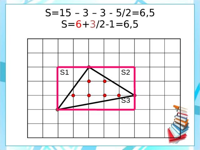 S=15 – 3 – 3 - 5/2=6,5  S= 6 + 3 /2-1=6,5 S1 S2 S3