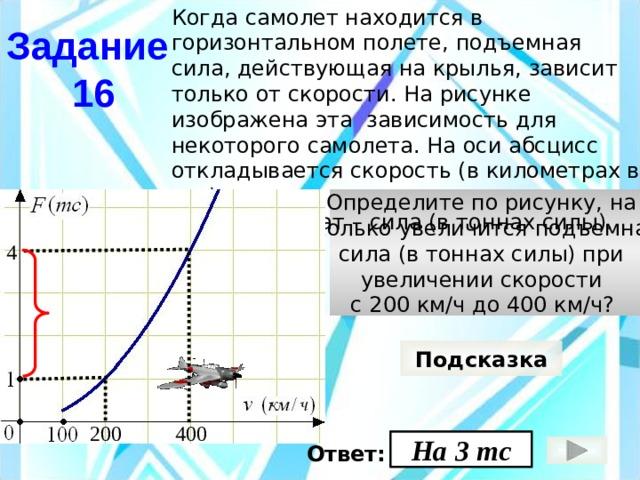 Когда самолет находится в горизонтальном полете, подъемная сила, действующая на крылья, зависит только от скорости. На рисунке изображена эта зависимость для некоторого самолета. На оси абсцисс откладывается скорость (в километрах в час), на оси ординат – сила (в тоннах силы). Задание  16 Определите по рисунку, на сколько увеличится подъемная сила (в тоннах силы) при увеличении скорости с 200 км/ч до 400 км/ч?  4 Подсказка 400 200 На 3 тс Ответ: