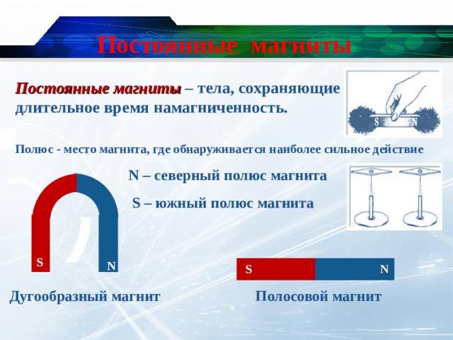 Постоянные магниты Постоянные магниты – тела, сохраняющие длительное время намагниченность. Полюс - место магнита, где обнаруживается наиболее сильное действие N – северный полюс магнита  S – южный полюс магнита S N N S Полосовой магнит Дугообразный магнит