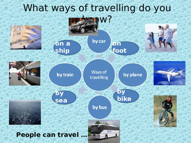 What ways of travelling do you know? on foot on a ship by bike by sea People can travel ………… 6