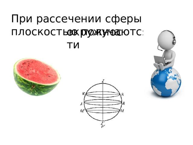 При рассечении сферы плоскостью получаются окружности