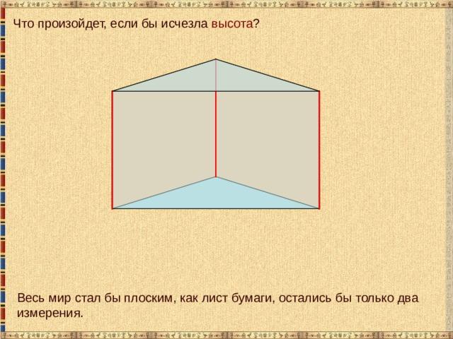 Что произойдет, если бы исчезла высота ? Весь мир стал бы плоским, как лист бумаги, остались бы только два измерения.