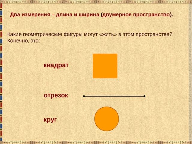 Два измерения – длина и ширина ( двумерное пространство ). Какие геометрические фигуры могут «жить» в этом пространстве? Конечно, это: квадрат отрезок круг