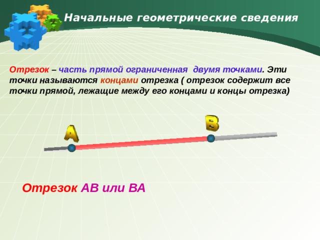 Начальные геометрические сведения Отрезок – часть прямой ограниченная двумя точками . Эти точки называются концами отрезка ( отрезок содержит все точки прямой, лежащие между его концами и концы отрезка) Отрезок  AB или ВА