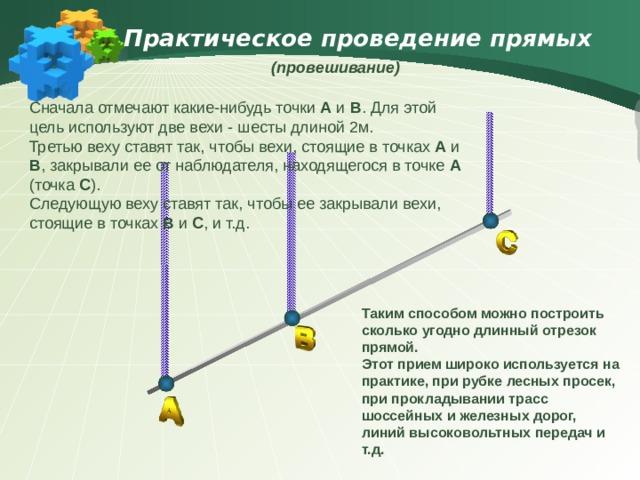 Практическое проведение прямых  (провешивание)  Сначала отмечают какие-нибудь точки А и В . Для этой цель используют две вехи - шесты длиной 2м. Третью веху ставят так, чтобы вехи, стоящие в точках А и В , закрывали ее от наблюдателя, находящегося в точке А (точка С ). Следующую веху ставят так, чтобы ее закрывали вехи, стоящие в точках В и С , и т.д. Таким способом можно построить сколько угодно длинный отрезок прямой. Этот прием широко используется на практике, при рубке лесных просек, при прокладывании трасс шоссейных и железных дорог, линий высоковольтных передач и т.д.