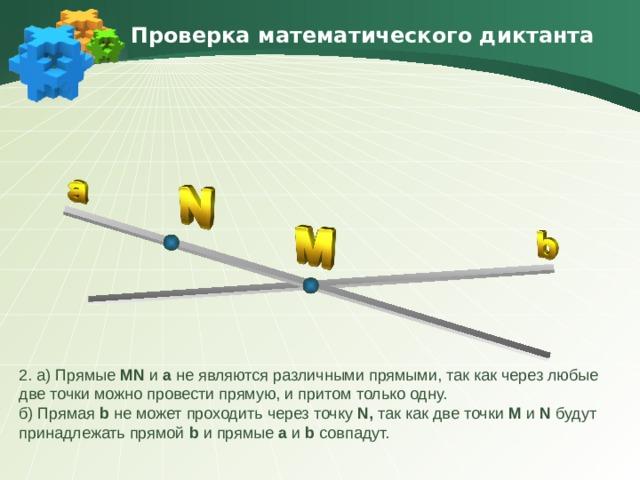 Проверка математического диктанта 2. а) Прямые MN и а не являются различными прямыми, так как через любые две точки можно провести прямую, и притом только одну. б) Прямая b не может проходить через точку N, так как две точки M и N будут принадлежать прямой b  и прямые a  и b  совпадут.