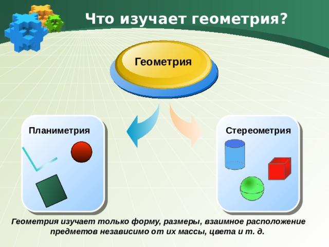 Что изучает геометрия? Геометрия Стереометрия Планиметрия Геометрия изучает только форму, размеры, взаимное расположение предметов независимо от их массы, цвета и т. д.