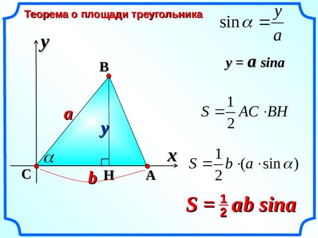 Теорема о площади треугольника y y = a sina  B a y x «Геометрия 7-9» Л.С. Атанасян и др. C H b A S =  a  b sina 1 2