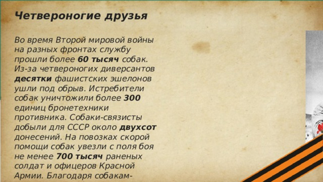 Четвероногие друзья  Во время Второй мировой войны на разных фронтах службу прошли более 60 тысяч собак. Из-за четвероногих диверсантов десятки фашистских эшелонов ушли под обрыв. Истребители собак уничтожили более 300 единиц бронетехники противника. Собаки-связисты добыли для СССР около двухсот донесений. На повозках скорой помощи собак увезли с поля боя не менее 700 тысяч раненых солдат и офицеров Красной Армии. Благодаря собакам-саперам расчищено 303 населенных пункта. В общей сложности четвероногие саперы обследовали более 15 тыс. км2 земной. Они обнаружили более 4 миллионов единиц немецких мин и наземных мин.