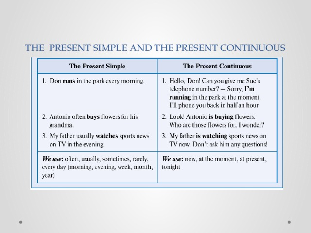 THE PRESENT SIMPLE AND THE PRESENT CONTINUOUS