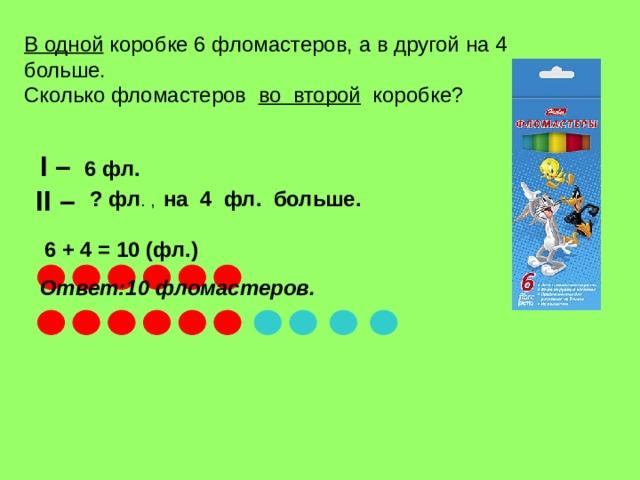 В одной коробке 6 фломастеров, а в другой на 4 больше.  Сколько фломастеров   во  второй   коробке ? I – II – 6 фл.  ? фл . , на 4 фл. больше. 6 + 4 = 10 (фл.) Ответ :10 фломастеров.