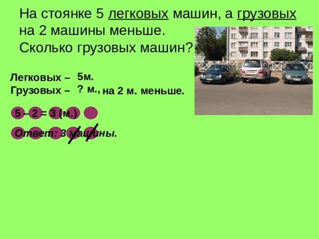 На стоянке 5 легковых машин, а грузовых на 2 машины меньше.  Сколько грузовых машин ? 5м.  Легковых – Грузовых – ? м.,  на 2 м. меньше. 5 – 2 = 3 (м.) Ответ : 3 машины.