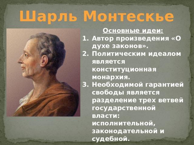 Шарль Монтескье Основные идеи: