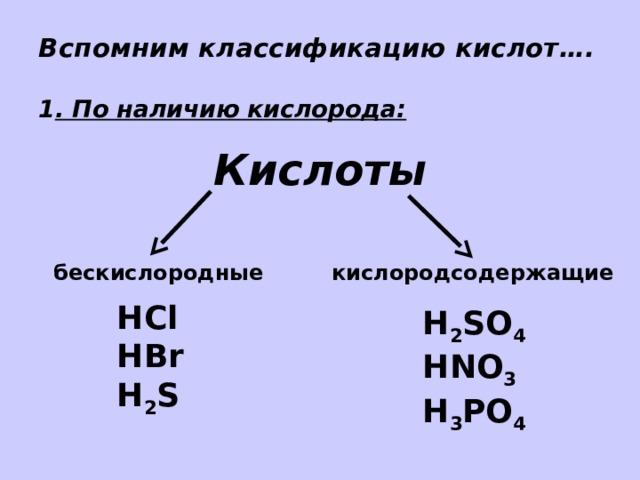 Вспомним классификацию кислот….   1 . По наличию кислорода: Кислоты бескислородные кислородсодержащие HCl HBr H 2 S H 2 SO 4 HNO 3 H 3 PO 4