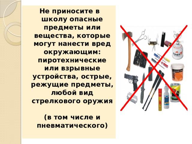 Не приносите в школу опасные предметы или вещества, которые могут нанести вред окружающим: пиротехнические или взрывные устройства, острые, режущие предметы, любой вид стрелкового оружия  (в том числе и пневматического)