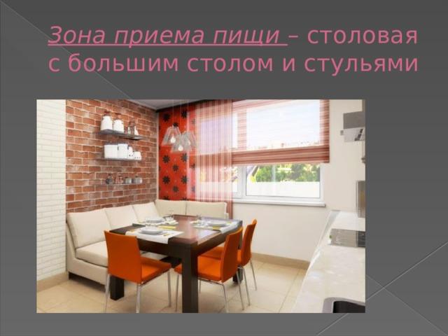 Зона приема пищи – столовая с большим столом и стульями